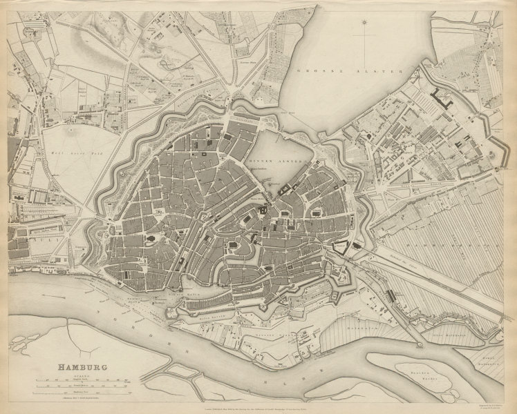 Associate Product HAMBURG antique town city map plan. St Pauli. Hafencity. SDUK 1844 old