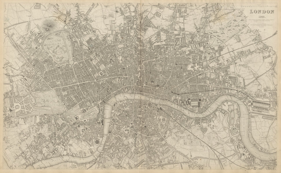 Associate Product LONDON in 1843 antique town city map plan. LARGE 65x40 cm. SDUK 1844 old