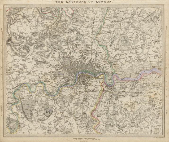 Associate Product LONDON & ENVIRONS Chelsea Kensington Hammersmith Richmond villages SDUK 1844 map