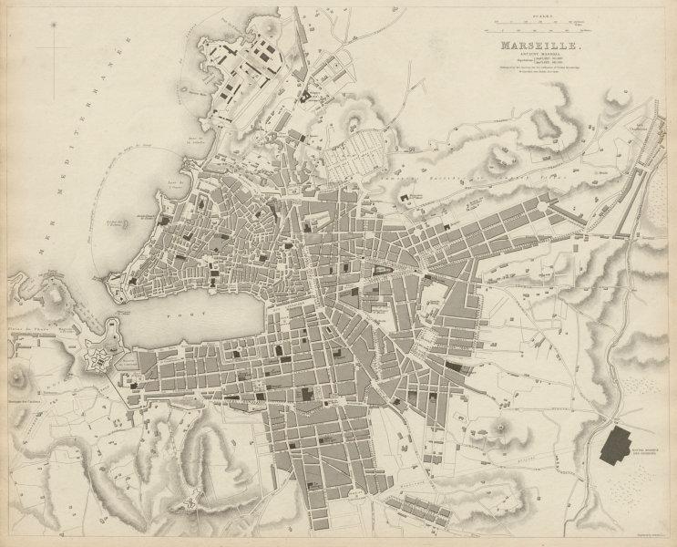 Associate Product MARSEILLE antique town city map. Ancient Massilia. Marseilles. SDUK 1844