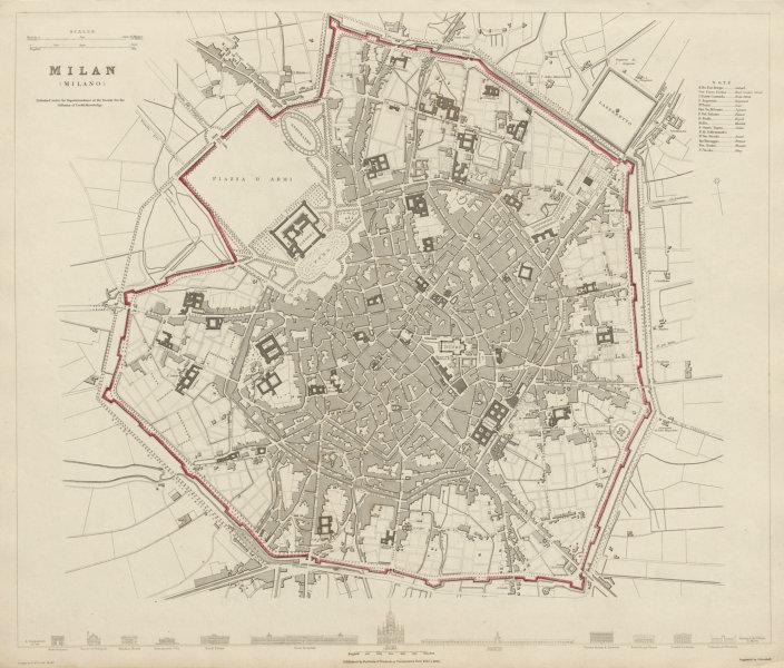 Associate Product MILAN MILANO antique town city map plan. Main buildings profiles. SDUK 1844