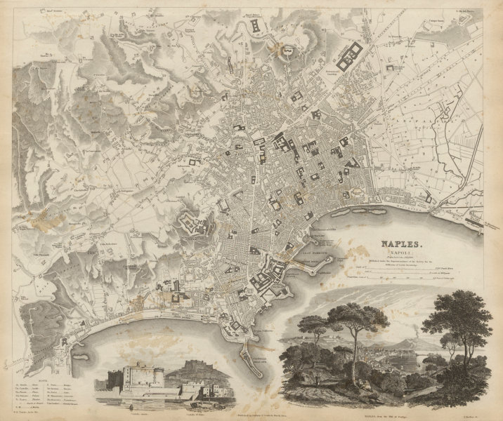Associate Product NAPLES NAPOLI antique town city map plan & view. Castello St Elmo. SDUK 1844