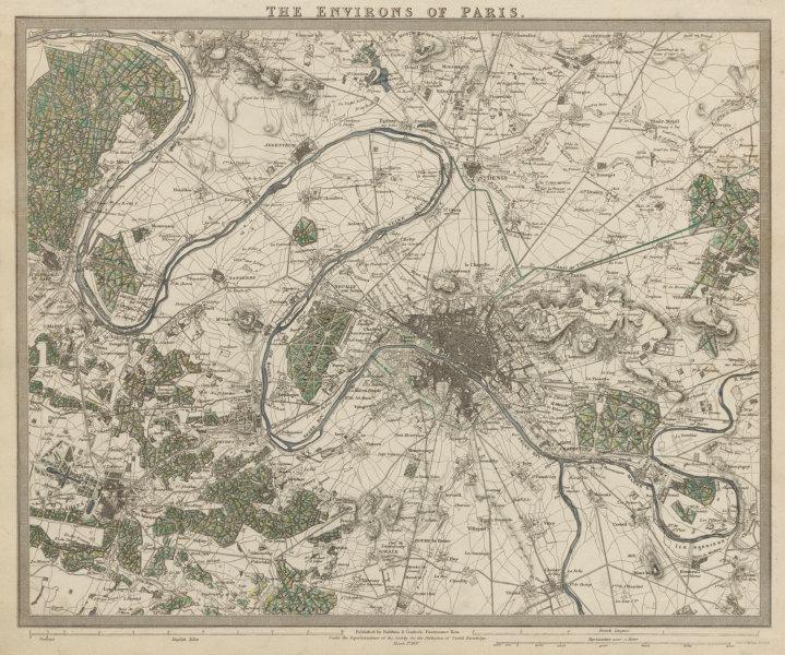Associate Product PARIS ENVIRONS. Versailles. St Germain-en-Laye. Vincennes. SDUK 1844 old map