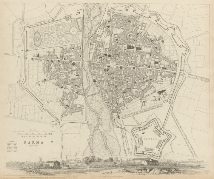 Associate Product PARMA antique town city map plan & panorama. Parme. Fortifications. SDUK 1844