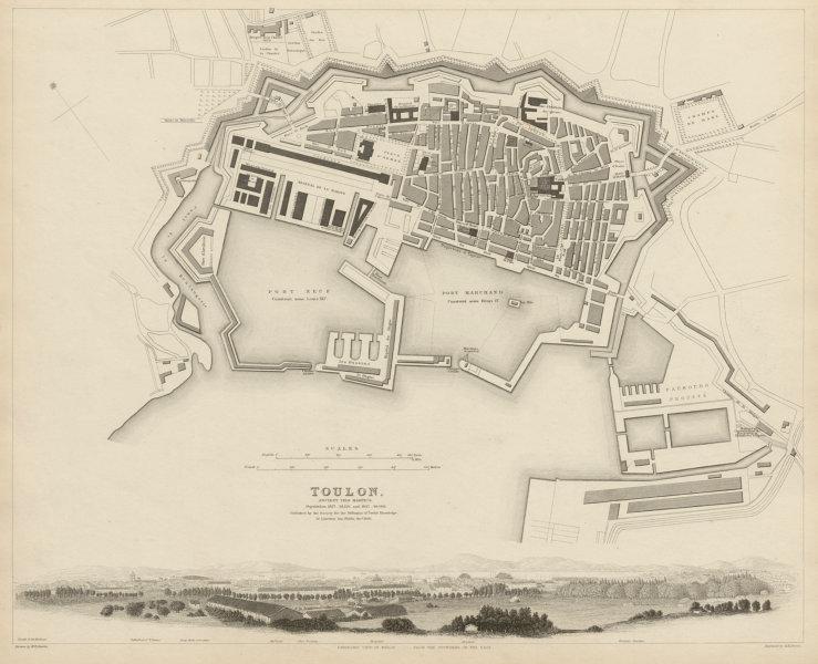 Associate Product TOULON antique town city map plan.Ancient Telo Martius.Panorama view SDUK 1844