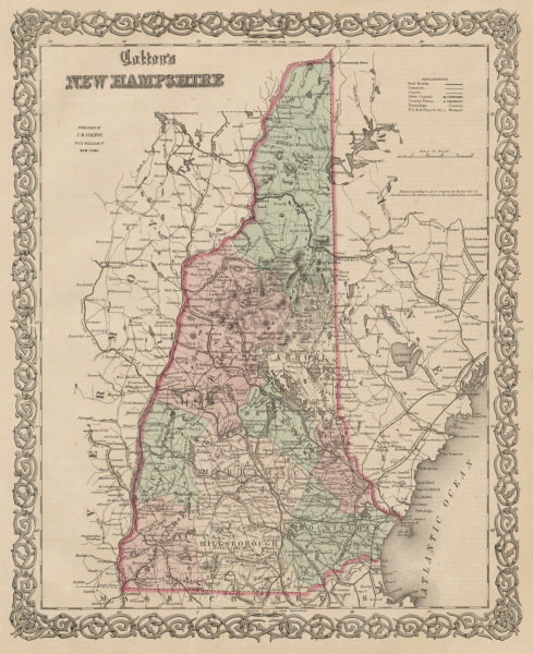 """Associate Product """"Colton's New Hampshire"""". Decorative antique US state map 1863 old"""