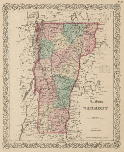 """Associate Product """"Colton's Vermont"""". Decorative antique US state map 1863 old chart"""