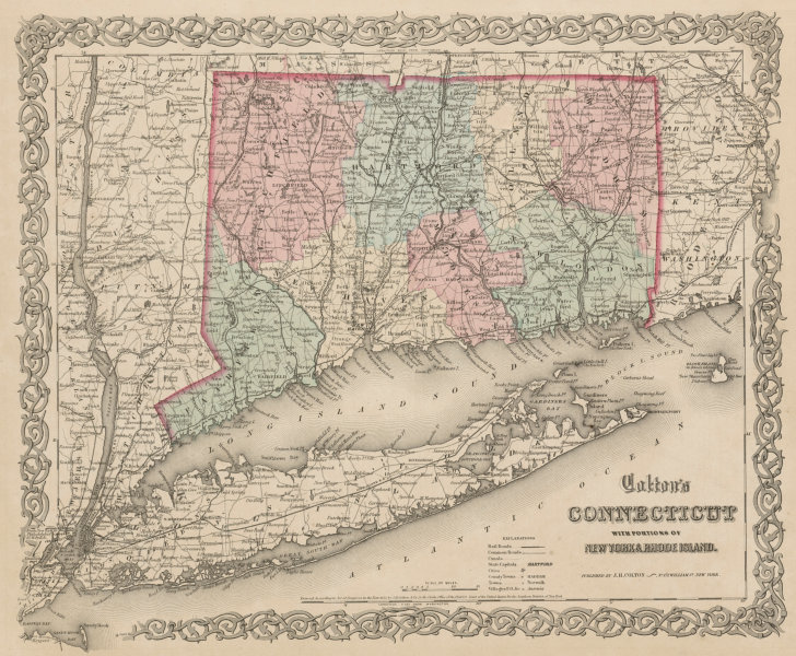 Associate Product Colton's Connecticut with portions of New York & Rhode Island. Long Is. 1863 map