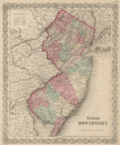 """Associate Product """"Colton's New Jersey"""". Decorative antique US state map 1863 old"""