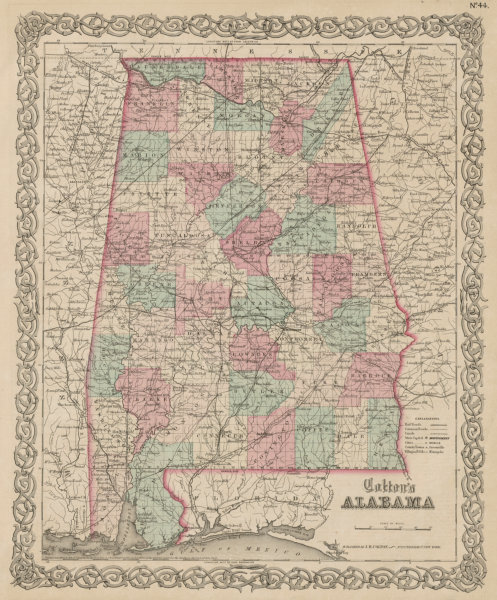 """Associate Product """"Colton's Alabama"""". Decorative antique US state map 1863 old chart"""