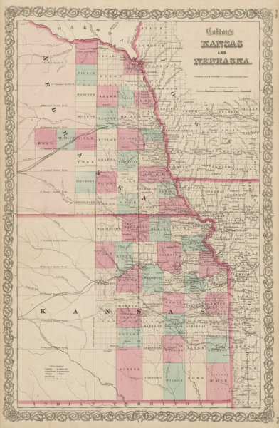 """Associate Product """"Colton's Kansas and Nebraska"""". Decorative antique US state map 1863 old"""