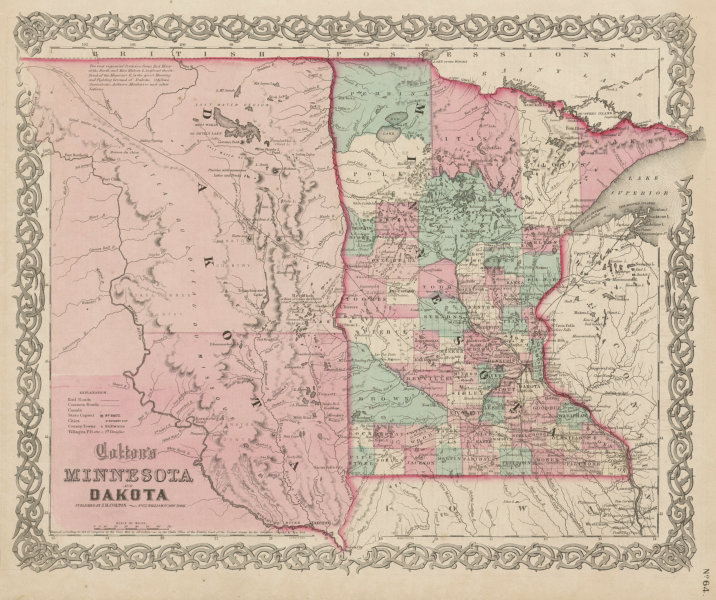 "Associate Product ""Colton's Minnesota and Dakota"". Decorative antique state/territory map 1863"