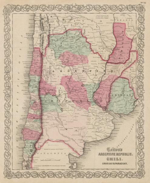 Associate Product Colton's Argentine Republic, Chili, Uruguay & Paraguay. Argentina Chile 1863 map
