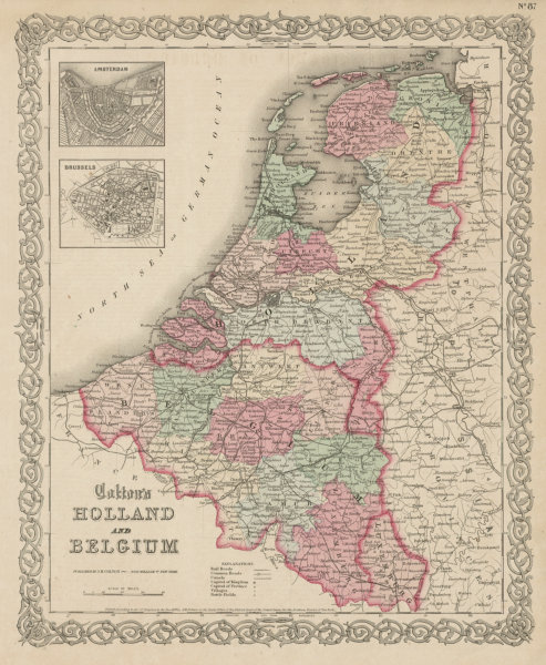 """Associate Product """"Colton's Holland and Belgium"""". Amsterdam & Brussels plans. Benelux 1863 map"""