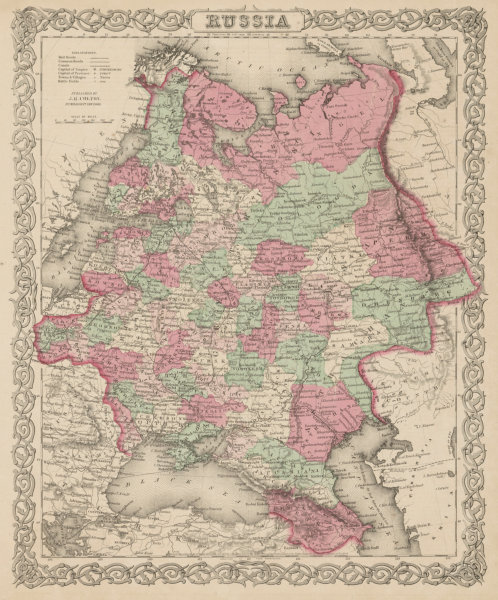 Associate Product European Russia. Decorative antique map. COLTON 1863 old chart