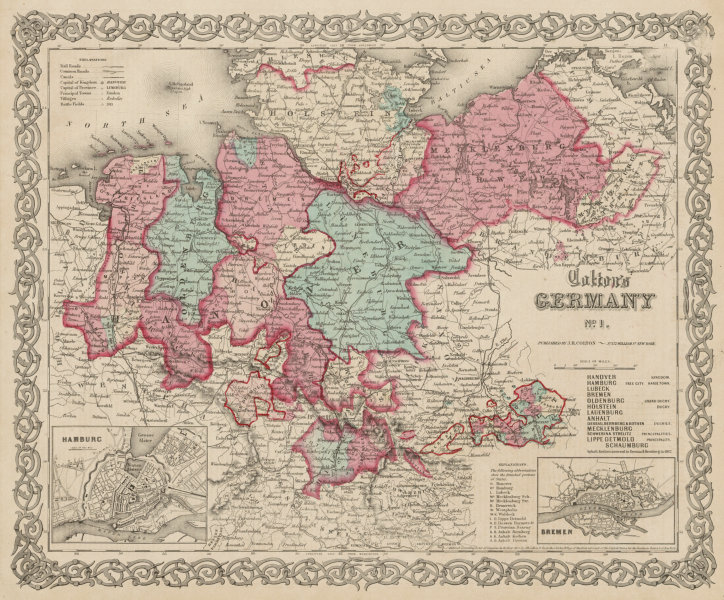 """Associate Product """"Colton's Germany No 1"""". Hamburg & Bremen plans. Northern Germany 1863 old map"""