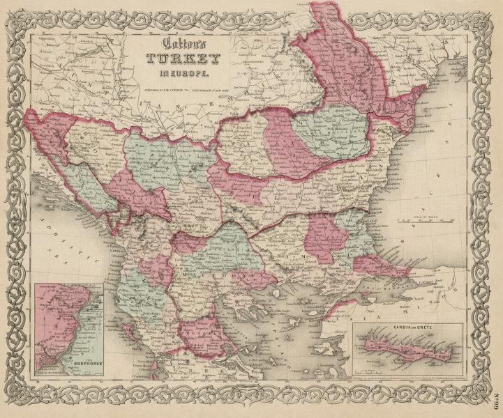 "Associate Product ""Colton's Turkey in Europe"". Balkans Rumilia Wallachia Macedonia Crete 1863 map"