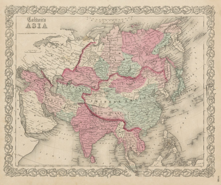 """Associate Product """"Colton's Asia"""". 'Bod or Tibet' Chinese Empire Toorkistan Hindoostan 1863 map"""