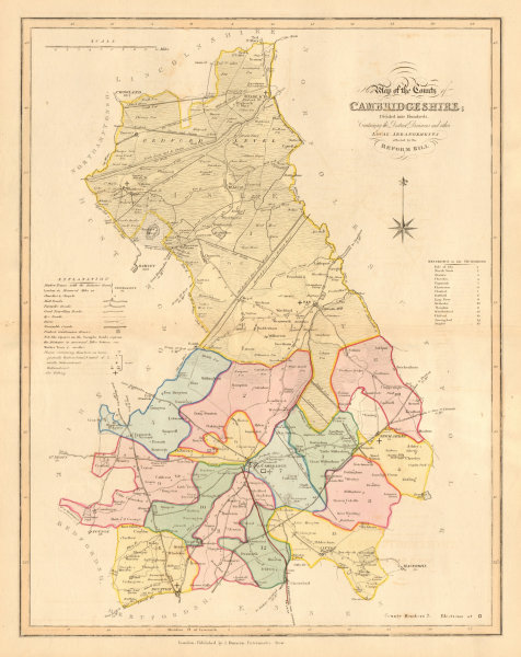 Associate Product New Map of the County of Cambridgeshire. DUNCAN 1833 old antique chart