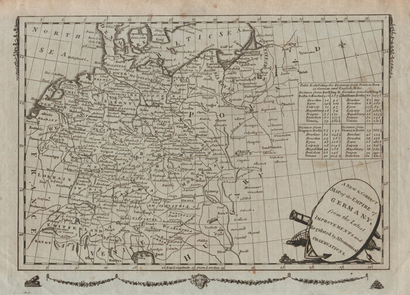 Associate Product A New & Correct Map of the Empire of Germany. MILLAR c1783 old antique