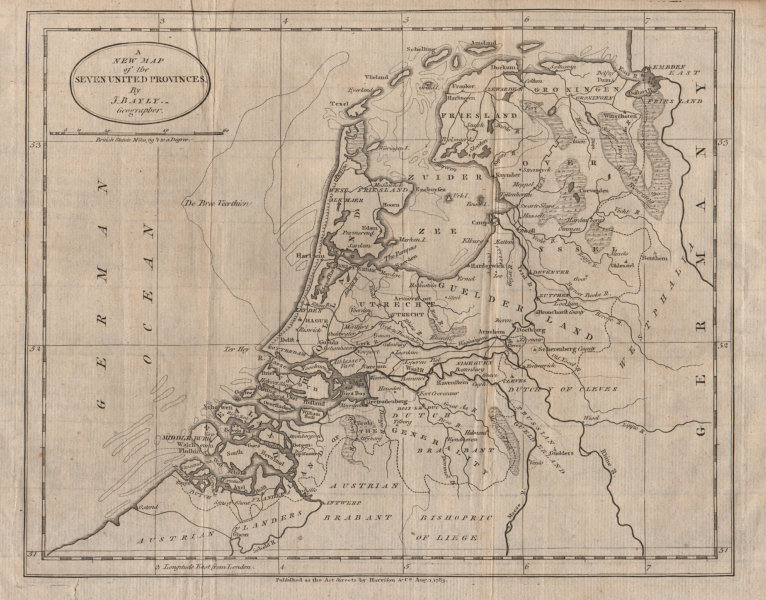 Associate Product A New Map of the Seven United Provinces. BAYLY 1783 old antique plan chart