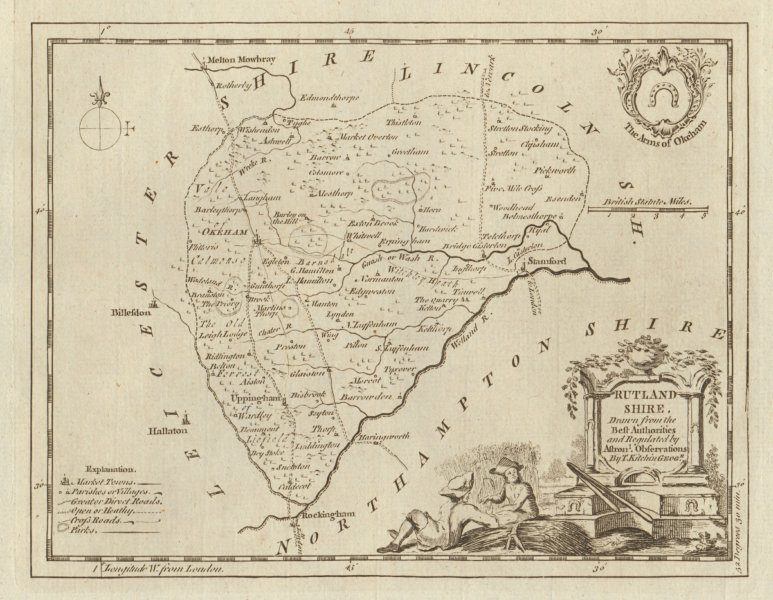 Associate Product Rutland Shire drawn from the best Authorities… County map. KITCHIN 1763