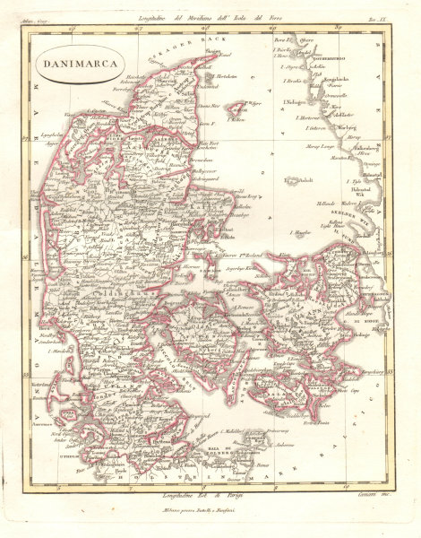 Associate Product Danimarca. Antique map of Denmark by CANIANI 1820 old plan chart