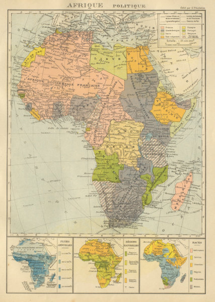 Associate Product COLONIAL AFRICA Afrique. League of Nations Mandates. Ethnicity 1931 old map