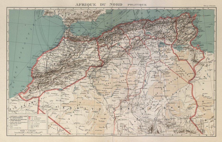Associate Product COLONIAL FRENCH NORTH AFRICA. Afrique du Nord. Politique. Political 1931 map