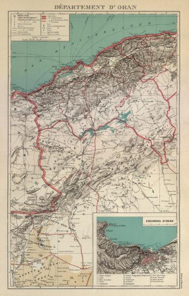 Associate Product FRENCH ALGERIA. Departement d'Oran. Oran environs & city plan 1931 old map