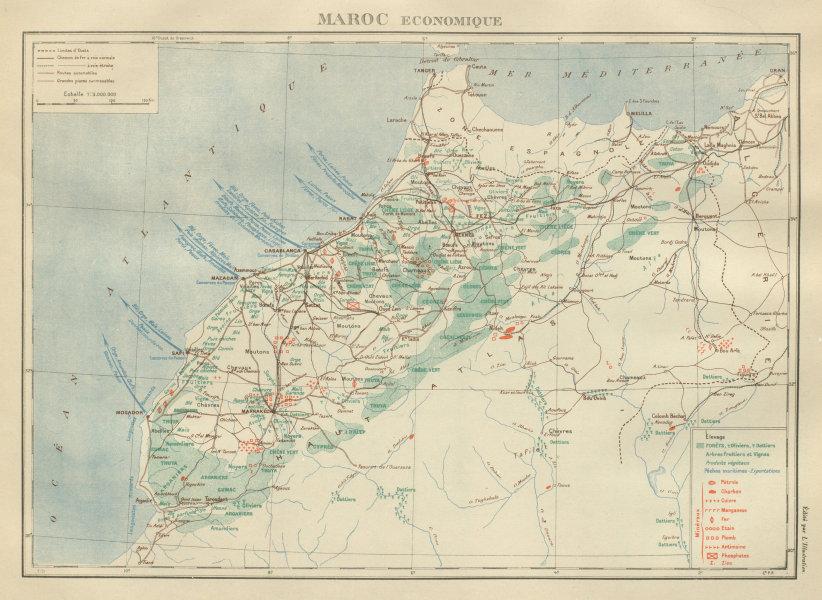 Associate Product FRENCH MOROCCO ECONOMIC/RESOURCES Maroc Protectorat français economique 1931 map