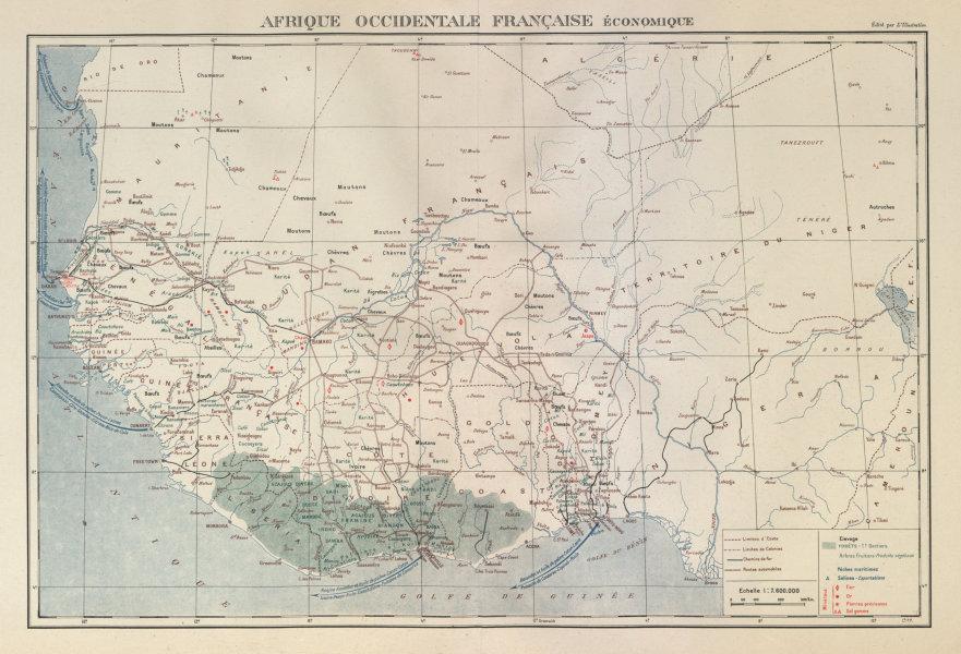 Associate Product FRENCH WEST AFRICA RESOURCES. Afrique Occidentale Française economique 1931 map