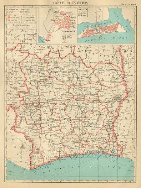 Associate Product IVORY COAST Côte d'Ivoire. Bingerville (Abidjan) Grand Bassam city plan 1931 map