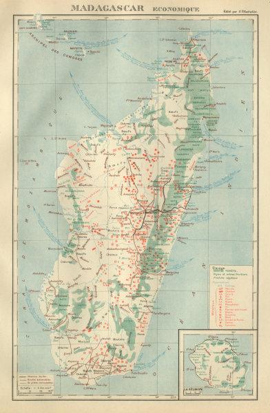 Associate Product COLONIAL MADAGASCAR RESOURCES. Minerals Economique. Inset La Réunion 1931 map
