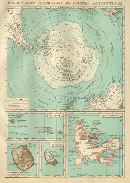 Associate Product FRENCH ANTARCTIC Terres australes françaises Crozet Amsterdam Kerguelen 1931 map