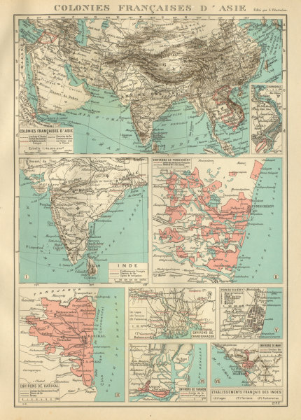 Associate Product FRENCH INDIA Indes français Pondichéry Karikal Yanaon Chandernagor Mahé 1931 map