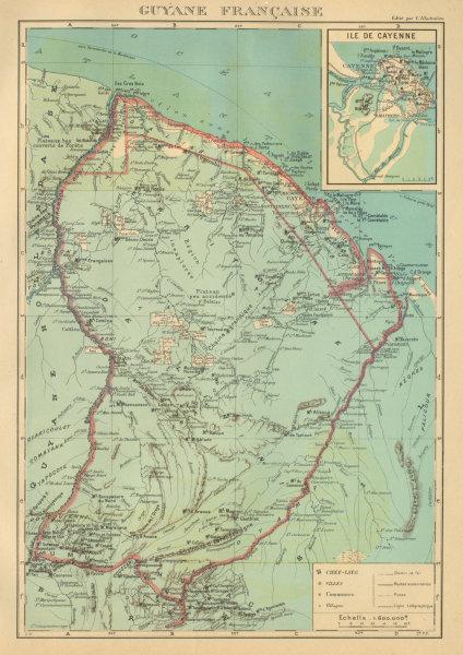Associate Product FRENCH GUIANA. Guyane Française. Île de Cayenne plan 1931 old vintage map