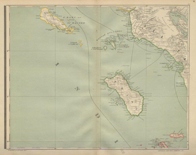 Associate Product DUTCH EAST INDIES. Indonesia. North SUMATRA. Nias Simeulue. DORNSEIFFEN 1902 map
