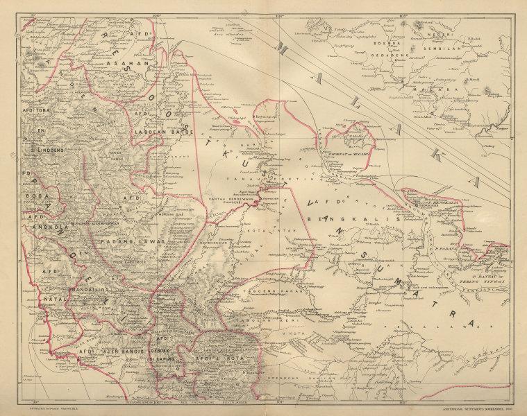 Associate Product DUTCH EAST INDIES Indonesia SUMATRA Malacca Strait Riau DORNSEIFFEN 1902 map