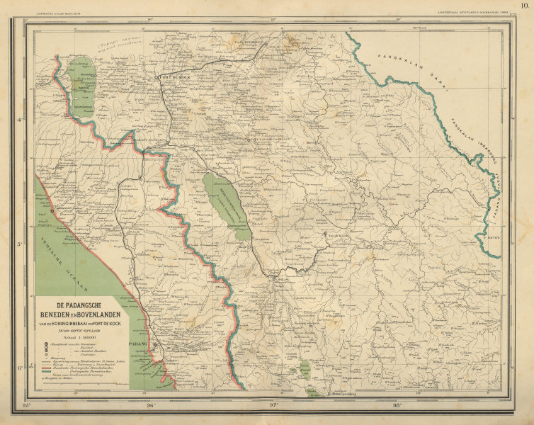 Associate Product DUTCH EAST INDIES SUMATRA Padang Bukittingi Fort de Kock DORNSEIFFEN 1902 map