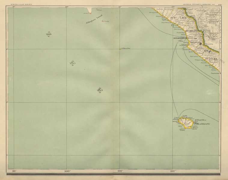 Associate Product DUTCH EAST INDIES Indonesia SUMATRA Bengkulu Enggano DORNSEIFFEN 1902 old map
