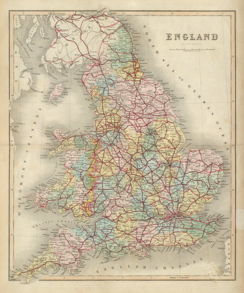 Associate Product England & Wales antique map by J & C Walker. Railways & counties 1868 old