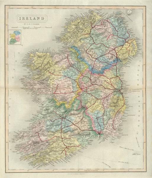 Associate Product Ireland antique map by J & C Walker. Railways, counties & provinces 1868