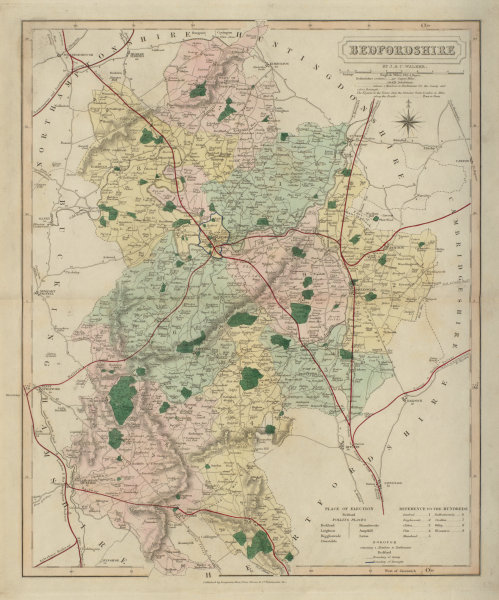 Associate Product Bedfordshire antique county map by J & C Walker. Railways & boroughs 1868