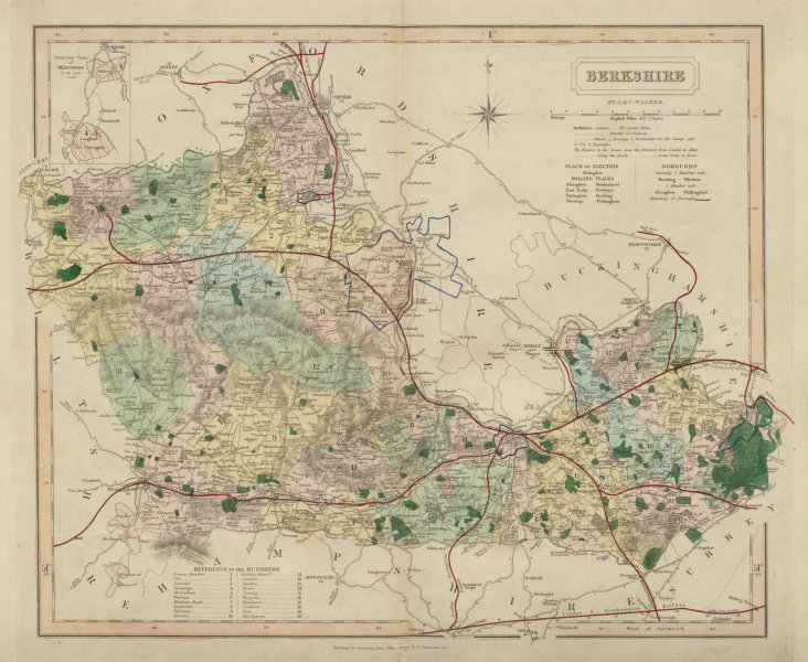 Associate Product Berkshire antique county map by J & C Walker. Railways & boroughs 1868 old