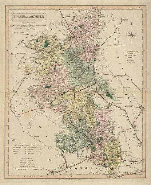 Associate Product Buckinghamshire antique county map by J & C Walker. Railways & boroughs 1868