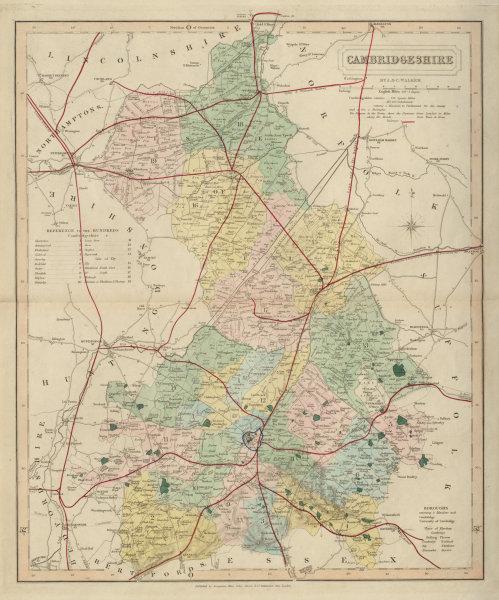 Associate Product Cambridgeshire antique county map by J & C Walker. Railways & boroughs 1868