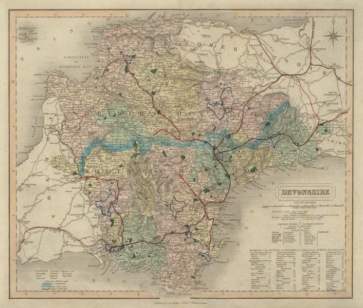 Associate Product Devonshire antique county map by J & C Walker. Railways & boroughs 1868