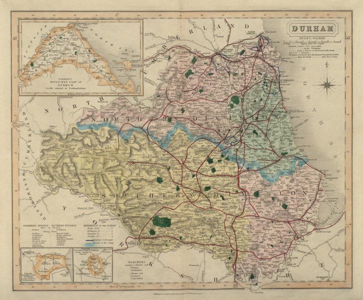 Associate Product Durham antique county map by J & C Walker. Railways & boroughs 1868 old
