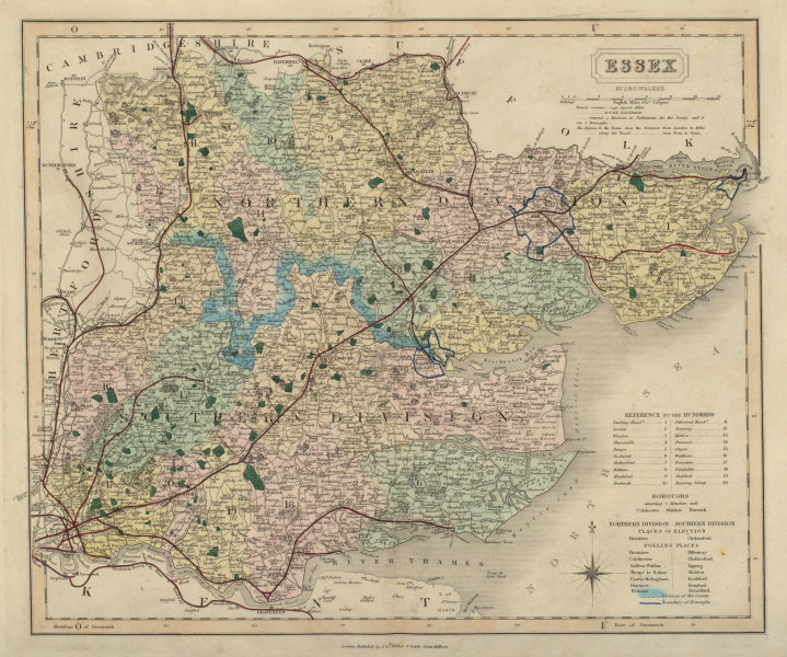 Associate Product Essex antique county map by J & C Walker. Railways & boroughs 1868 old